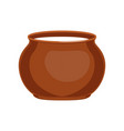 sour cream in clay pot fresh and healthy dairy vector image