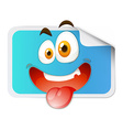 Square sticker with happy face vector image vector image