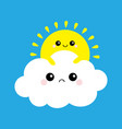 sun holding cloud yellow and white set smiling vector image vector image