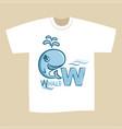t-shirt print design letter w whale vector image vector image