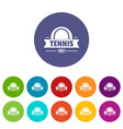 tennis icons set color vector image vector image