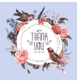 vintage greeting card with flowers and birds vector image