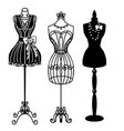 vintage mannequins silhouette vector image