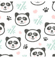 childish seamless pattern with cute panda and vector image