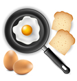 Omelet in frying pan with bread and egg vector image