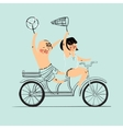 Two best friends ride on tandem bicycle Flat vector image