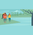 a couple tourists with backpacks and a camera vector image