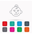 Baby boy face icon Child with smile sign vector image