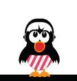bird singing with headphones vector image vector image