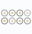 black and golden circle floral emblem set - set 1 vector image vector image