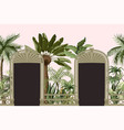 border with tropical trees and door openings in a vector image vector image