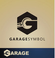 car garage tire logo service tool vector image