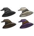 cartoon magician medieval top hat icon set vector image vector image