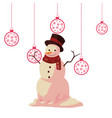 christmas snowman hanging balls decoration vector image vector image