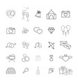 collection of the wedding thin line icons vector image