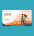 couple walking in autumn landing page template vector image vector image