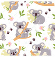 cute koalas seamless background with kids mini vector image vector image