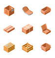 delivery box icon set isometric style vector image vector image