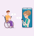 disabled man with doctor online chat medical vector image