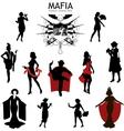Female characters Silhouettes retro Mafia set vector image