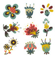 flat naive decorative fantasy flowers set vector image vector image