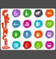 food and kitchen icons set in grunge style vector image vector image