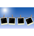 Four polaroid pictures hanging on rope vector | Price: 1 Credit (USD $1)