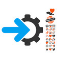 gear integration icon with love bonus vector image vector image