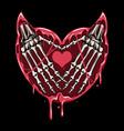 hand devils skull and heart vector image