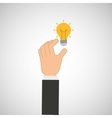 hand hold icon bulb idea design flat isolated vector image vector image