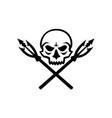 human skull crossed fishing spear mascot vector image