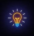 light bulb neon sign bulb design vector image