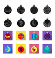new year toys blackflet icons in set collection vector image