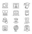 Online education line icons set black