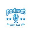 podcast logo design inspiration in blue color vector image vector image