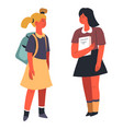 school girls having chat talking classmates vector image vector image