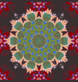 seamless pattern with brown green red tulip vector image