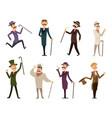 set english victorian gentlemen characters in vector image