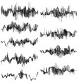set of abstract monochrome sound waves eps 10 vector image