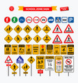 set school sign zone pedestrian and other str vector image