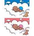 sleeping baby in diaper black vector image vector image