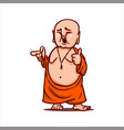 smiling buddha shows thumb up points to someone vector image