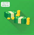 stacks of gold coins and stacks of dollar cash vector image