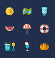 Summer Holidays Icon Set Flat Design Colorful vector image