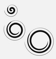 three circular spirals of different sizes vector image vector image