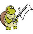 turtle with scissors cartoon vector image vector image