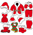 various santa claus clothes vector image