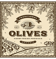 Vintage brown olives label vector image vector image