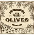 Vintage brown olives label vector image vector image