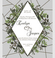 wedding floral invite card green forest leaf vector image vector image